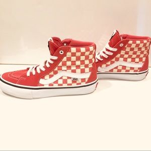 Vans sk8 hi hi top checkered shoes white and coral